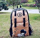 Volyer Backpack Shoulders Anime Leisure Pu Shoulder Bag Backpack Bags Rucksack 9 Styles (Khaki Daomu)