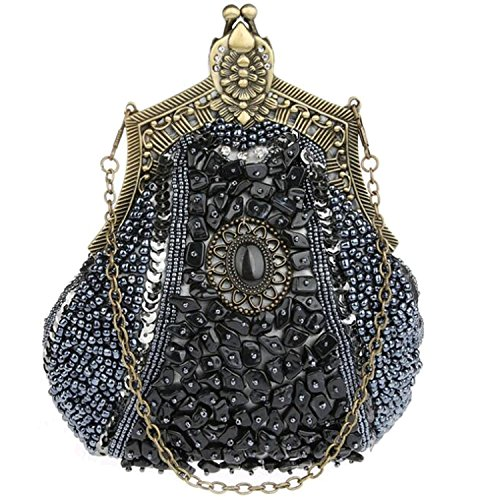 Sequin Party Purse Grey Satin Women Evening EPLAZA Bags Handbags Beaded Clutch Rhinestone Retro qfpzx