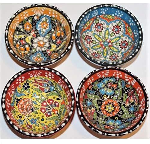 (Alhamra Turkish Ceramic Mini Decorative Nut Bowls Lace Set of 4)