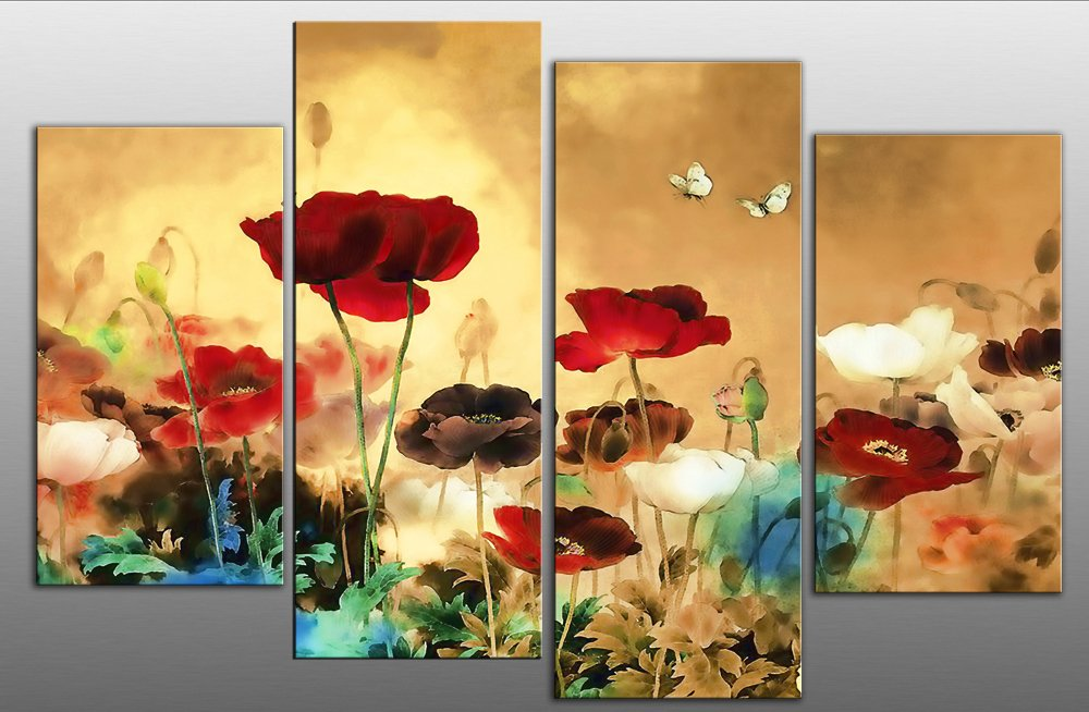 Large Chinese Floral Flowers Canvas artwork 4 pieces multi panel ...