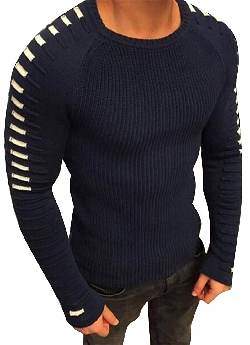 Fensajomon Mens Slim Fit Long Sleeve Knit Stretchy Thermal Pullover Sweater Jumper