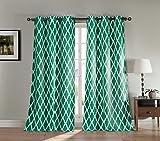 BLACKOUT365 – Duck River Textiles KITTATTINNY 11323D=6 2 Piece Kittattinny Blackout Grommet Pair Panel, 38×84, Emerald For Sale