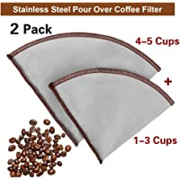 Stainless Steel Mesh Coffee Filter, Cone Pour-Over Coffee Filter Paperless and Reusable, Hand-Pour Coffee Filter Dripping Coffee Filter, Fits for Hario, Chemex, Ovalware Carafes