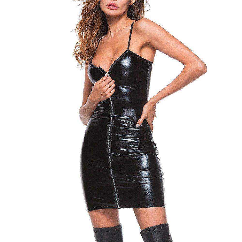 DEELIN Moda Mujer Sexy tentación Cremallera lencería Trajes Clubwear Stripper Cuero Ropa Interior Atractivo Bar Vestido: Amazon.es: Ropa y accesorios