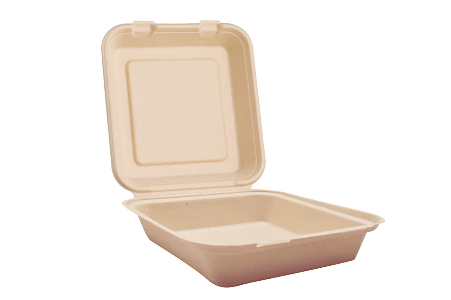 "Harvest Pack 8 X 8"" inch Disposable Eco Compostable Clamshell Hinged Food Container Boxes, Single Compartment [50 Count]"