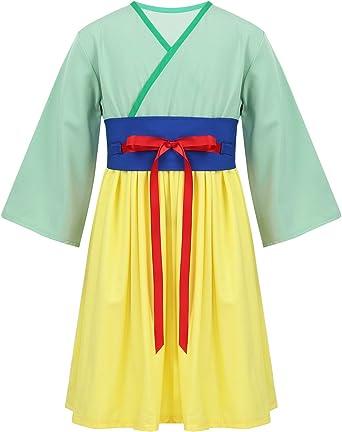 YiZYiF Disfraz Princesa Mulán Niñas Vestido Chino Cosplay ...