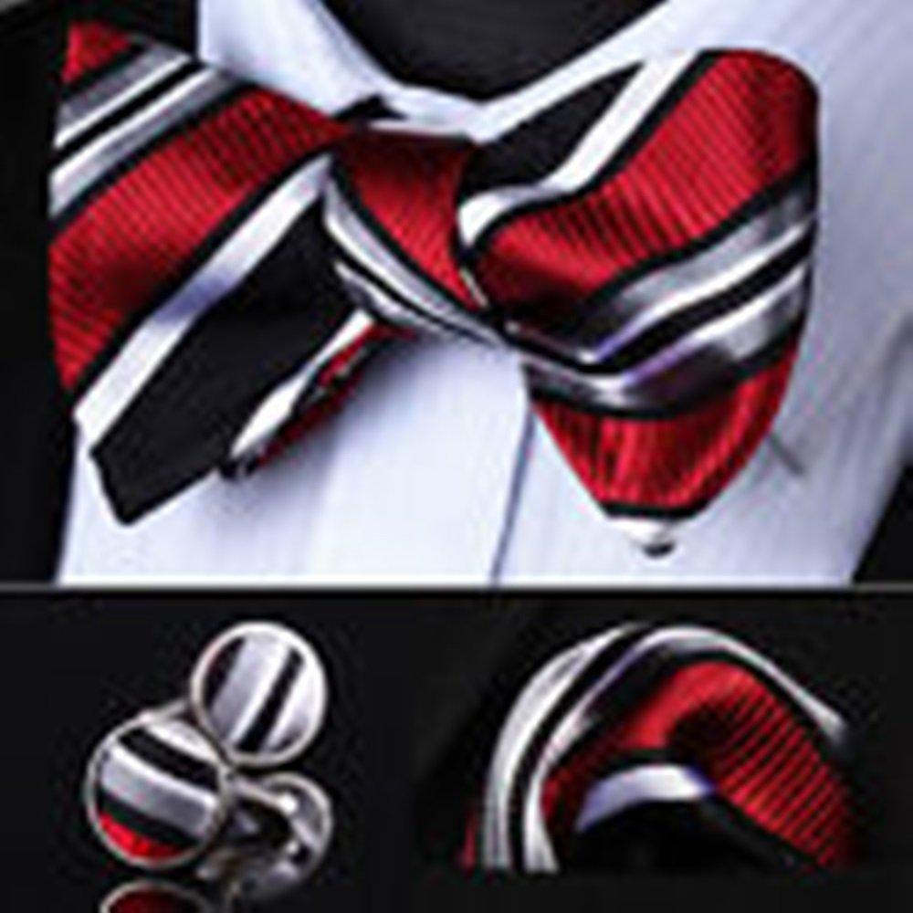 Mondaily DL06L Red Black Gray Striped Men Silk Self Bow Tie handkerchief Cufflinks set #PPTE4390