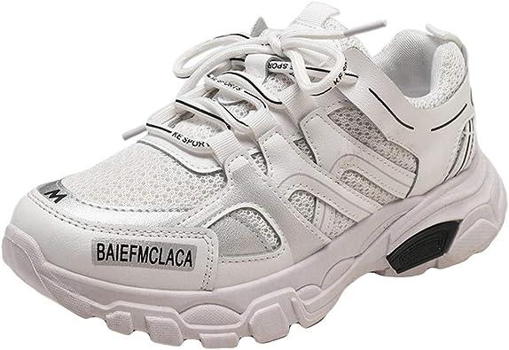 Zapatillas de Deporte para Mujer atléticas Neutras, Informales, Gruesas, Redondas, con Cordones en la Parte Superior, Estilo Retro, para Correr, Color Plateado, Talla 37 EU: Amazon.es: Zapatos y complementos