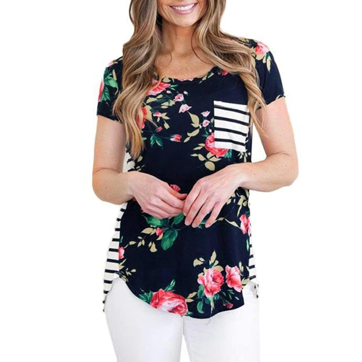 f8b25c0a62f11f Women's Casual Blouses T Shirt,Floral Print Back Striped Tee Crew Neck Shirt  Short Sleeve Tops with Pocket (XL, Black): Amazon.co.uk: Clothing