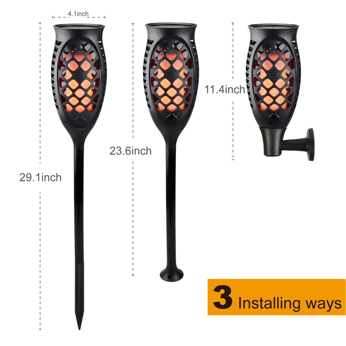 Juhefa Solar Lights Outdoor, Solar Torch Light Flickering Flame 99 LED Waterproof Garden Lighting Pathway Patio Landscape Decoration, 3 Modes & 3 Mounting Options, Dusk to Dawn Auto On/Off (4) by Juhefa (Image #6)