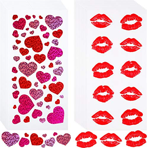 Pangda 600 Pieces Valentine's Day Stickers Kisses Heart Stickers Red Lip Stickers for Greeting Cards Gift Packaging Decoration Valentine's Day Pictures, 20 Sheets