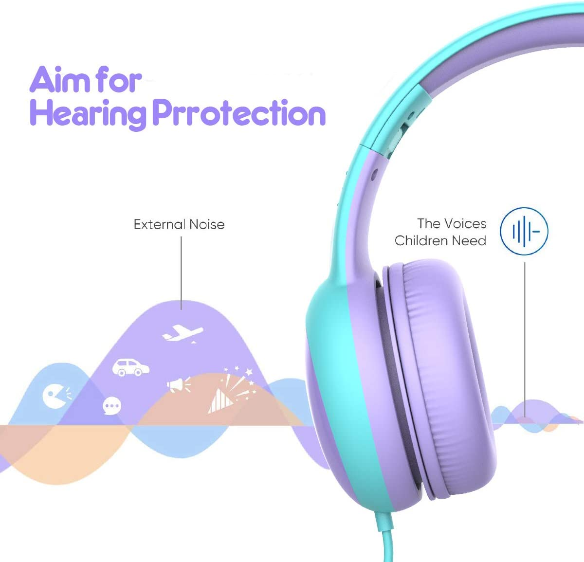 Gorsun Kids Headphones With Limited Volume, Children Headphone Over Ear, Kids Headphones For Boys And Girls, Wired Headset For Children