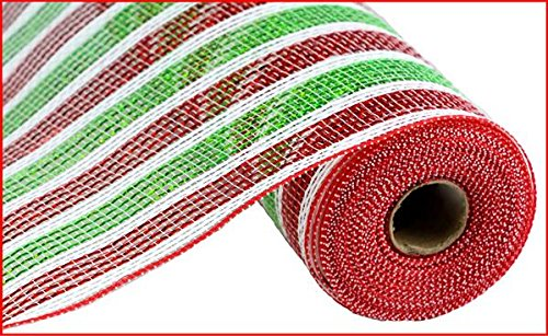 Craig Bachman 10 Inch x 30 Feet Deco Poly Mesh Ribbon - Red Lime Green White Stripe]()