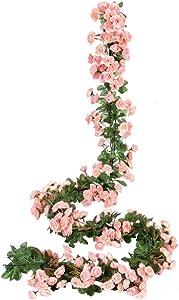 Miracliy 2PCS 69 Heads Fake Rose Vine Flowers Plants Artificial Flower Hanging Rose Wedding Party Garden Craft Art Décor, Pink