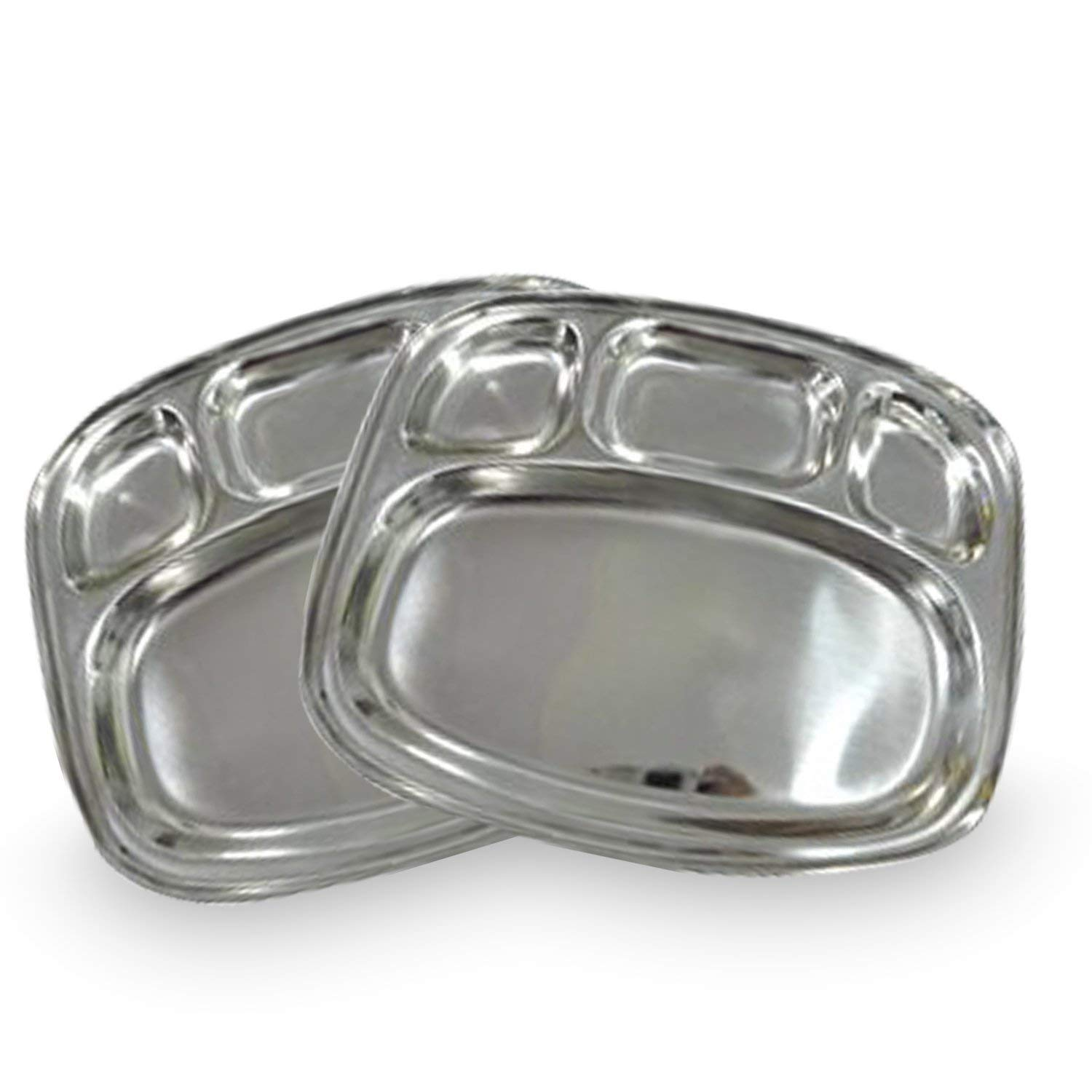 IndiaBigShop Stainless Steel Oval Shape 4 compartment Thali Mess Trays For Lunch and Dinner or Every Day Use Set of 2-13 Inch