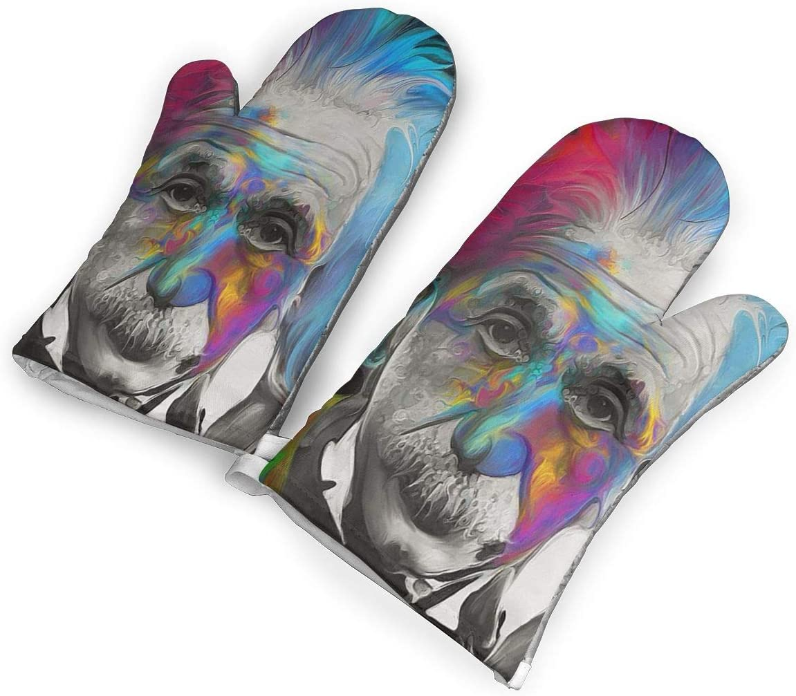 RACPIEC Albert Einstein Art Oven Mitts 1 Pair of Quilted Cotton Lining Heat Resistant Kitchen Gloves