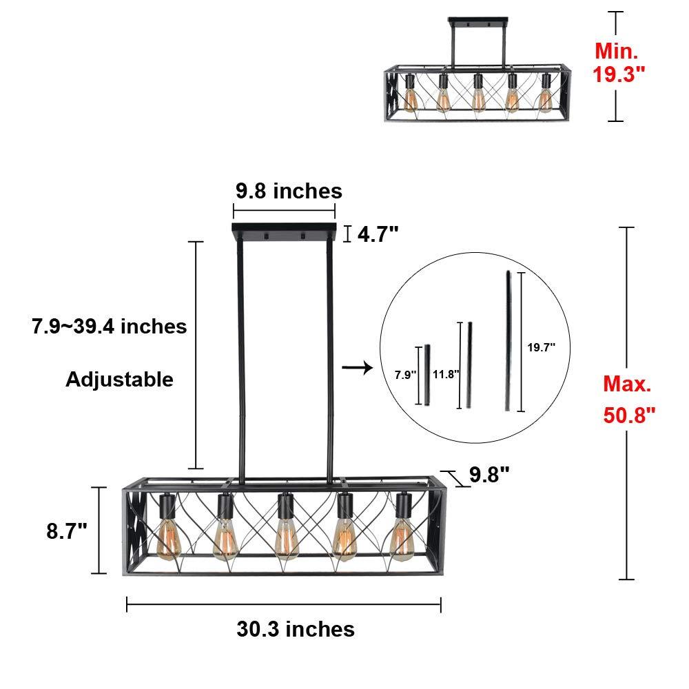 Baiwaiz Industrial Rectangle Chandelier, Metal Black Dining Room Light Fixture Cage Kitchen Pendant Light 5 Lights Edison E26 094