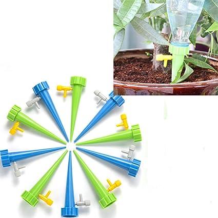 Egurs 12 Pack Sistema de púas autorriego de Waterer de Planta con válvula de Control de