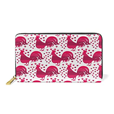 bfddb7dbec54 Pink Rooster Love Simple Leather Slim Wallet To Block Medium Size ...