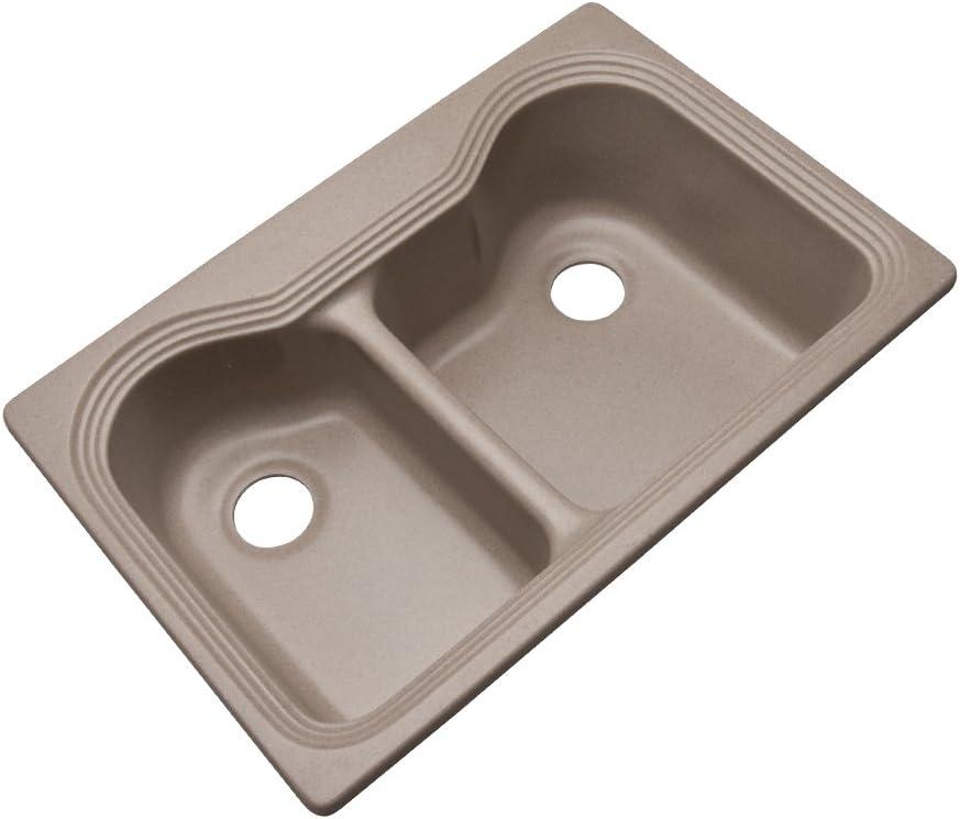 33-Inch Dekor Sinks 56090Q Buckingham Composite Granite Double Bowl Kitchen Sink Espresso