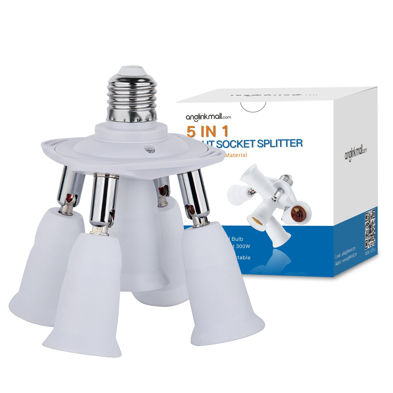 Light Socket Splitter, 5 In 1 Electric Spark Protection E26 E27 CFL Adapter Energy Saving Heat Resistance Light Bulb Socket Adapter 360 Degrees Adjustable 180 Degree Bendable Max Watt 300W