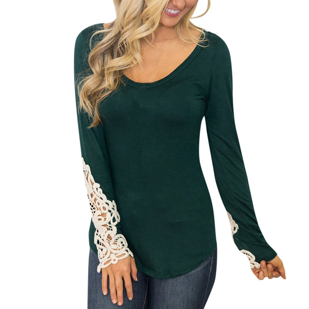 Lace Cuff top for Women, Women Ladies Lace Long Sleeve Round Neck Solid Loose T-Shirt Blouse Autumn Coat New (Green, S)