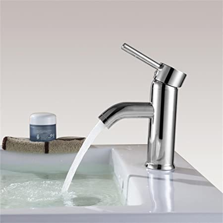 Lavandino rubinetto contemporanea semplice finitura cromata singola maniglia Bagno