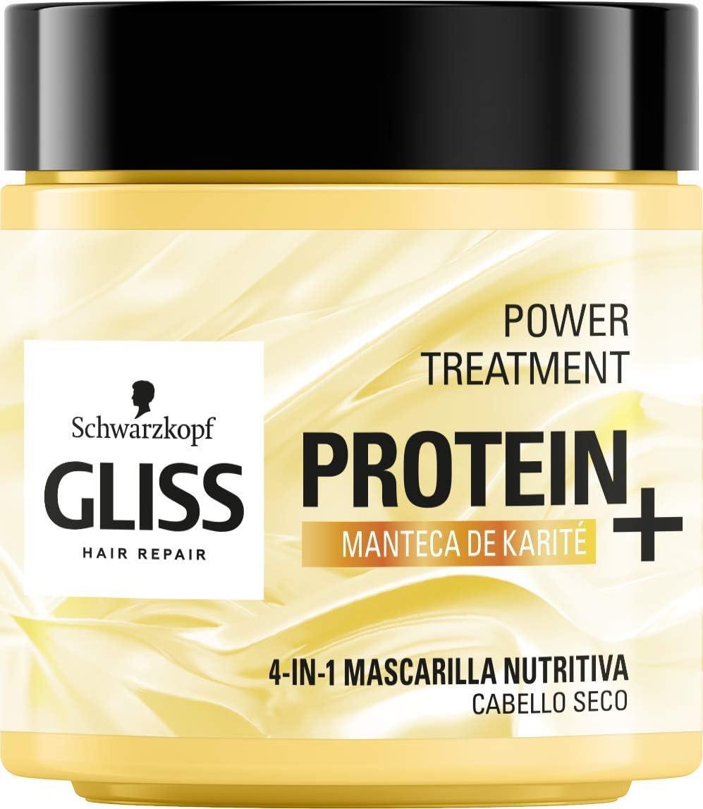 Gliss - Mascarilla Nutritiva Proteína 4 En 1 - Para cabello seco - Manteca Karité 400Ml