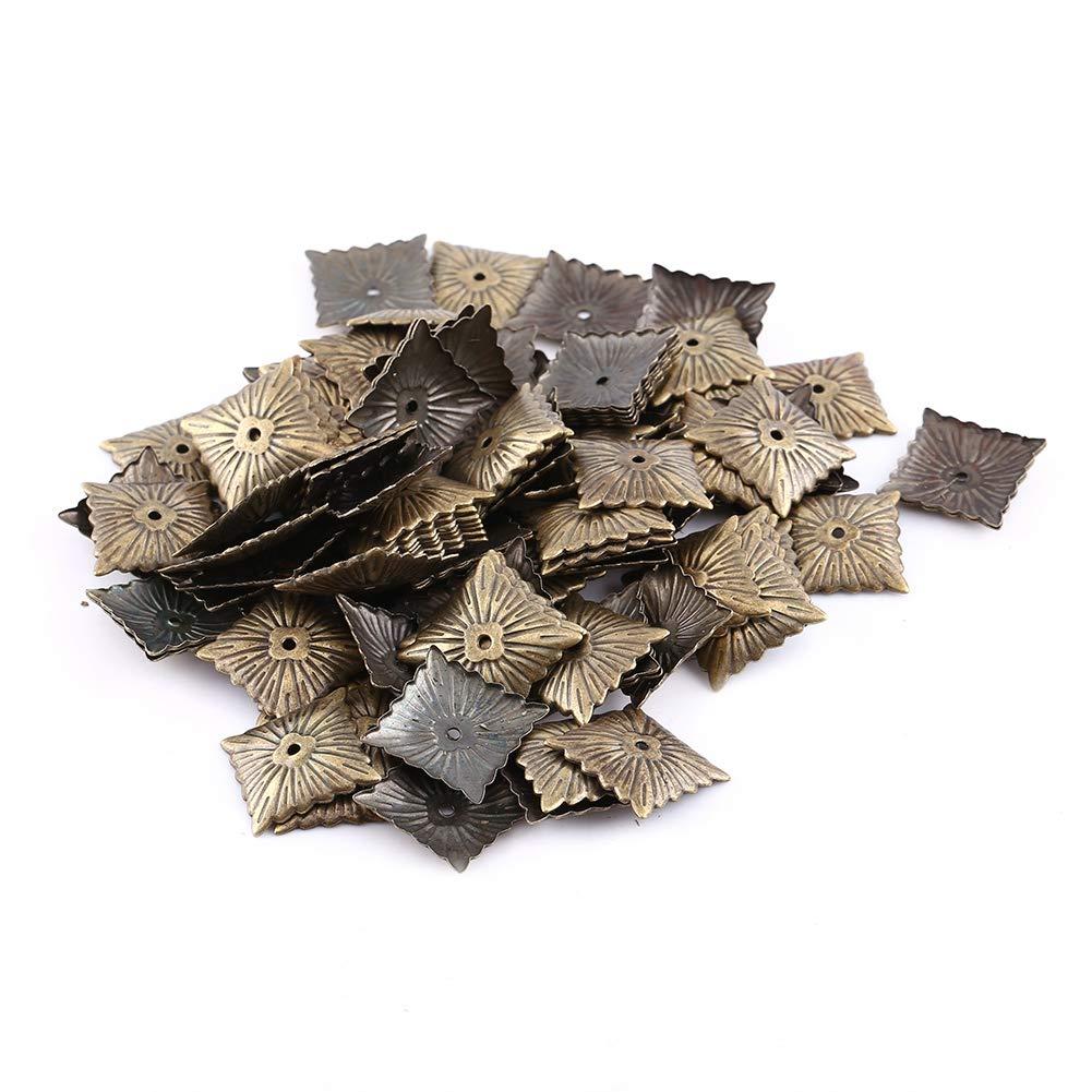 21 * 21mm-Clavo Cuadrado Etiquetas de tapicer/ía Vintage Muebles Sof/á Zapato Puerta Decorativo Tachuela Wandisy U/ñas 100pc Bronce Metal