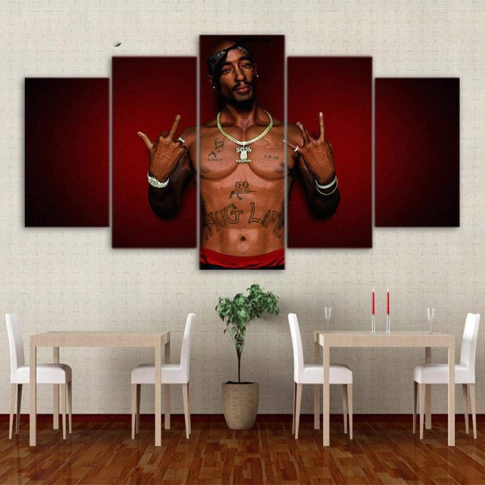 LHMTZ Cinco m/ódulos pinturas decorativas 200*100CM Art Sailing 5 panel HD Impreso Tupac Shakur Pintura decoraci/ón de la habitaci/ón de los ni/ños imprimir p/óster cuadro lienzo Cuadro en Lienzo Impresi/ó