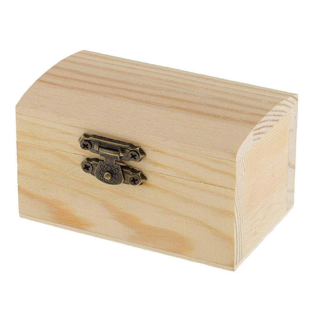 MonkeyJack Blank Unfinished Cambered Shape Wooden Box Gift Jewelry Box DIY Base for Kids Toys Crafts