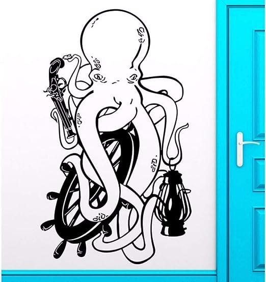 Cute Ocean Animal Art Octopus Etiqueta de la pared Pistola Pirata Vinilo Mural de la pared Decoración del dormitorio del hogar Papel pintado de PVC 56 * 89 cm: Amazon.es: Bricolaje y herramientas
