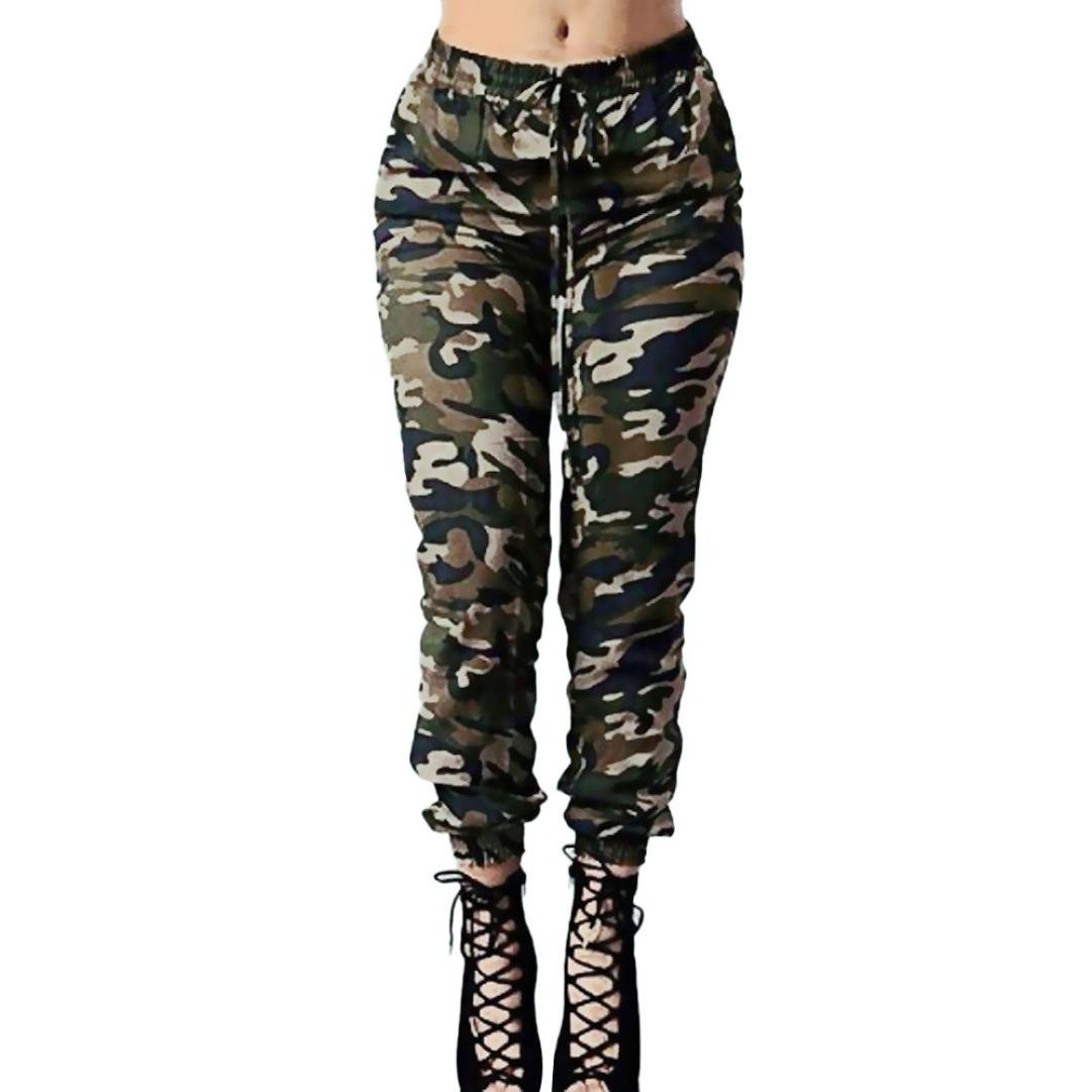YUAN Women's Plus Size Camouflage Jeans Trousers, Ladies Casual High Waist Loose Army Green Drawstring Waist Trousers