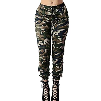 largest selection of 2019 outlet store great deals on fashion YUAN Women's Plus Size Camouflage Jeans Trousers, Ladies Casual High Waist  Loose Army Green Drawstring Waist Trousers