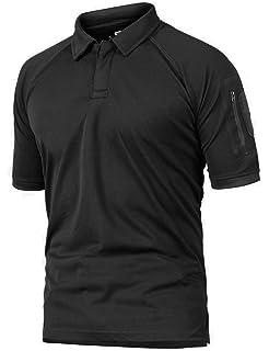 7569ebf2 donhobo Mens Polo Shirts Short Sleeve Outdoor Military Quick Dry T-Shirt  Sports Breathable Zip