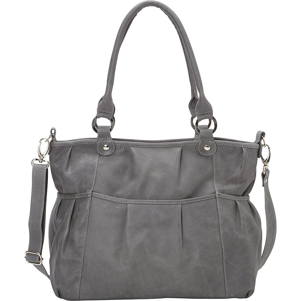 Piel Leather Zippered Cross-Body Tote, Charcoal