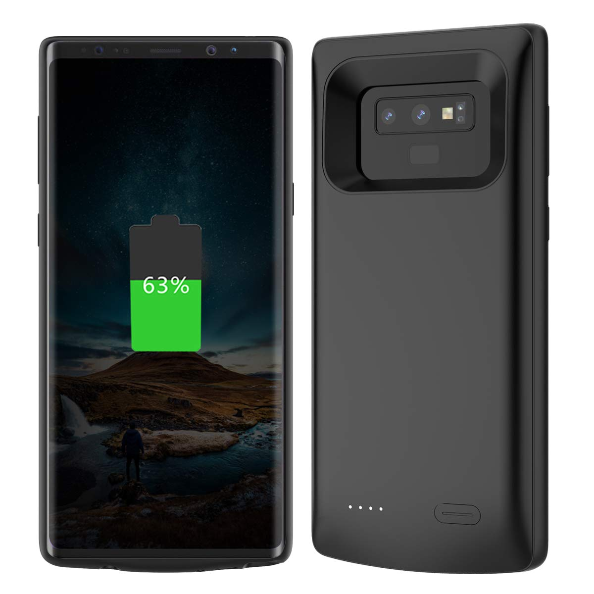 for Samsung Galaxy Note 9 Battery Charger Case 5000mAh External Backup Charger Power Bank Protective Cover (Black)