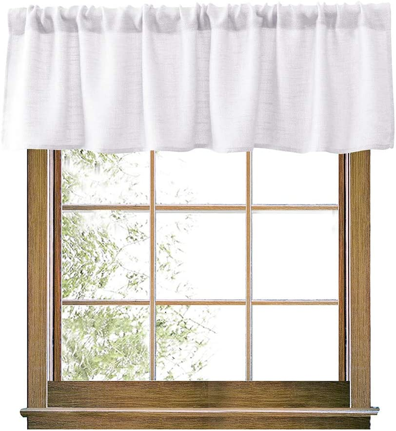 Amazon Com Valea Home White Valance Burlap Look Soft Natural Semi Sheer Rod Pocket Window Curtain Valance Rustic Home Decor 56 By 14 Inches Furniture Decor