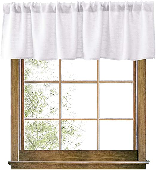 Swedish Vintage Curtain Valance H19x W104 Sand /& Beige Woven Cotton Valance; Checkered Curtain with Tiny Tulips; Rustic Home Decor