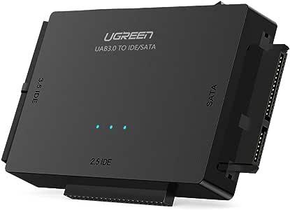 UGREEN USB 3.0 a IDE y SATA Adaptador para 2,5 y 3,5 Disco Duro IDE SATA Lector HDD SDD, 10 TB MAX, Plug Play para Windows 10/8/7, Mac OS y Linux (Adaptador