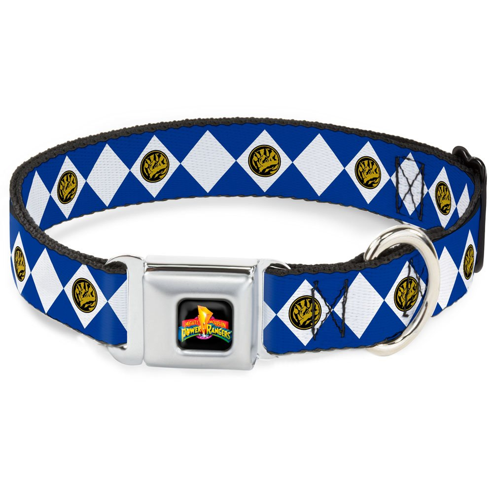 1\ Buckle-Down Seatbelt Buckle Dog Collar Diamond bluee Ranger 1  Wide Fits 15-26  Neck Large