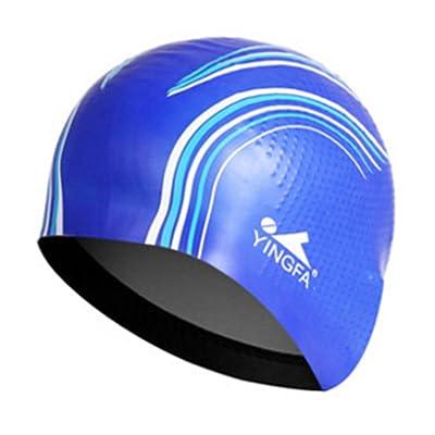 Mode unisexe Bonnet de bain bonnet de bain professionnel Swim Cap étanche Bleu