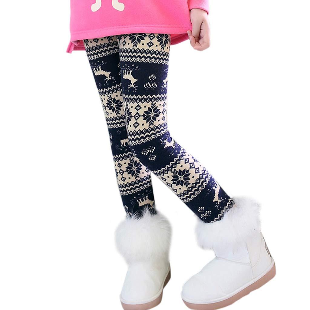 LANDUM Winter-Leggings, Weihnachtsbaum, Elch, Fleece-gefüttert, dick, Größe XL, Violett, 1# Purple Elk, S Fleece-gefüttert Größe XL