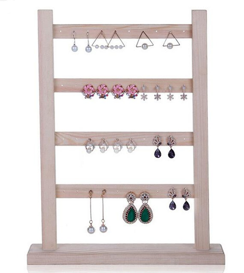 LFHT Wooden Jewelry Organizer Earing Holder Necklace Hanger Stand Jewelry Display Rack (White)