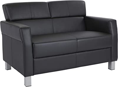 Office Star SL4002 EC3 Bonded Leather Loveseat With Silver Legs, Black