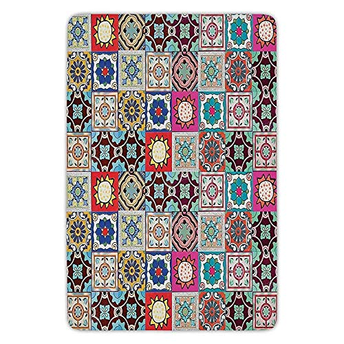 K0k2t0 Bathroom Bath Rug Kitchen Floor Mat Carpet,Moroccan,Collection of Ceramic Mosaic Tiles and Figures with Mathematical Geometric Artful,Multicolor,Flannel Microfiber Non-Slip Soft Absorbent