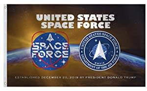 Official U.S. Space Force Flag 3x5 Ft Large,Vivid Color and UV Fade Resistant- Armed Forces USSF United State American Military MMXIXFlags, for Room Decor,Outdoor,Parties,Gift,Tailgates 36x60inch
