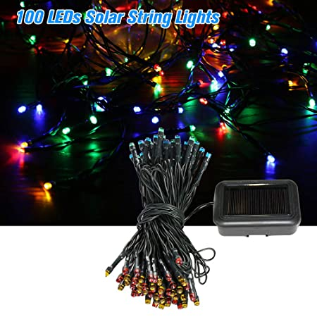 Access Control 100 Leds Solar String Lights 4 Light Colors 8 Modes Ambiance Lighting Outdoor Patio Lawn Party Decor Lamp