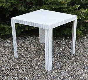 Mesa Marco Blanco 80x 80cm–de resina efecto Rattan–Pesante–Made in Italy
