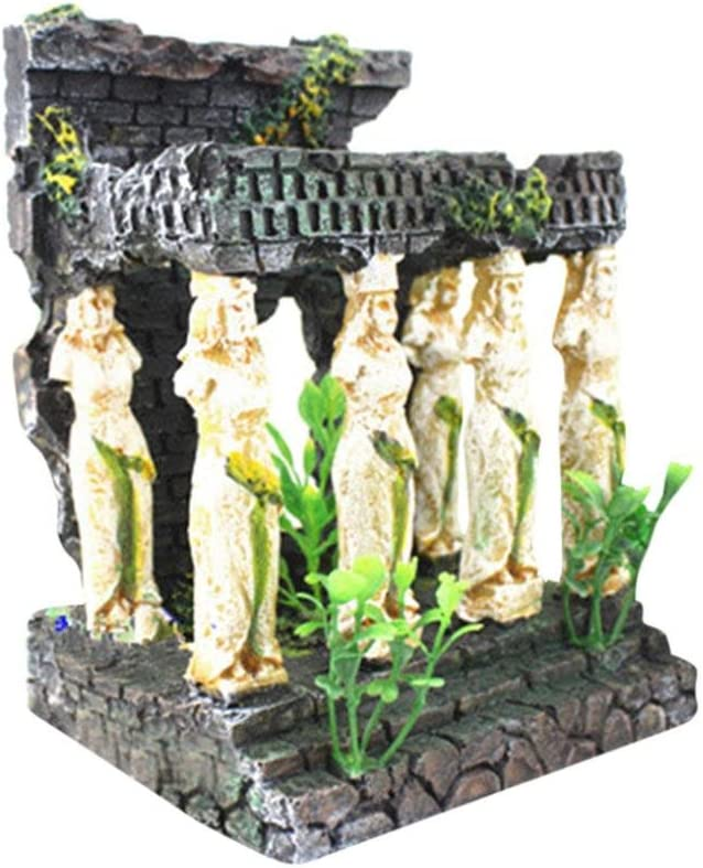 InKach Aquarium Decoration, Roman Temple Ruins Aquarium Fish Tank Hiding Cave Ornament